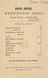 Advert for the Kennington Cross Coffee House